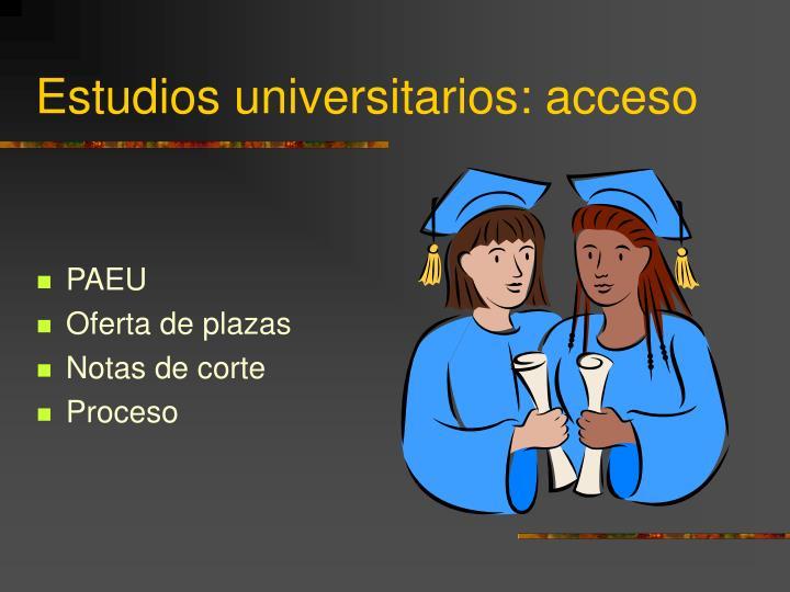 Estudios universitarios: acceso