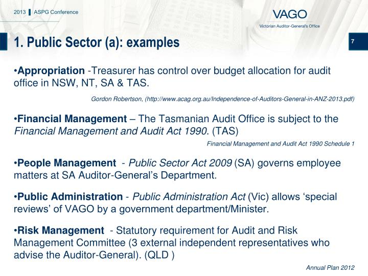 1. Public Sector (a): examples