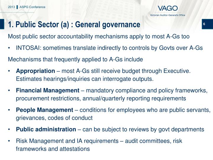 1. Public Sector (a) : General governance
