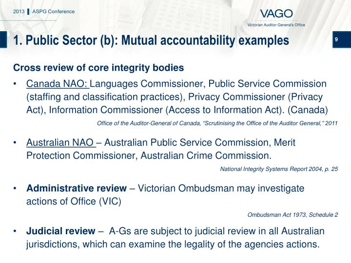 1. Public Sector (b): Mutual accountability examples