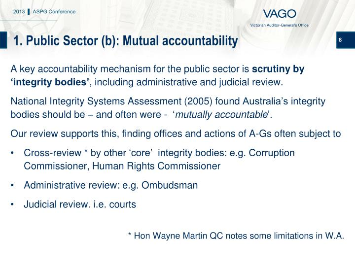 1. Public Sector (b): Mutual accountability