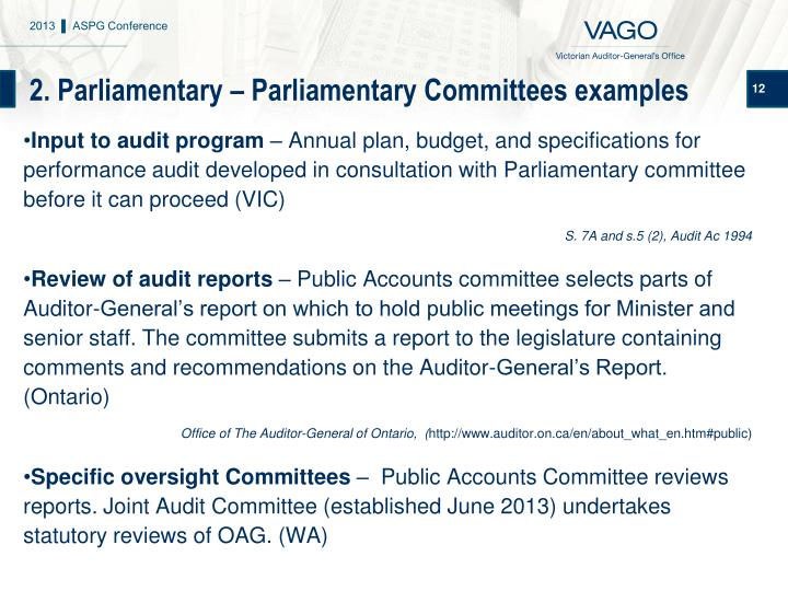 2. Parliamentary – Parliamentary Committees examples