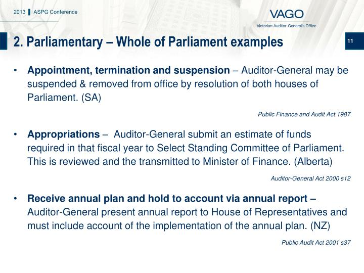 2. Parliamentary – Whole of Parliament examples