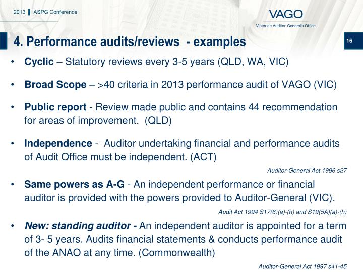 4. Performance audits/reviews  - examples