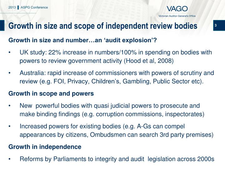 Growth in size and scope of independent review bodies