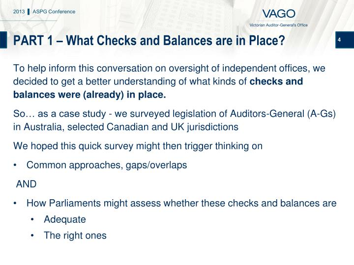 PART 1 – What Checks and Balances are in Place?