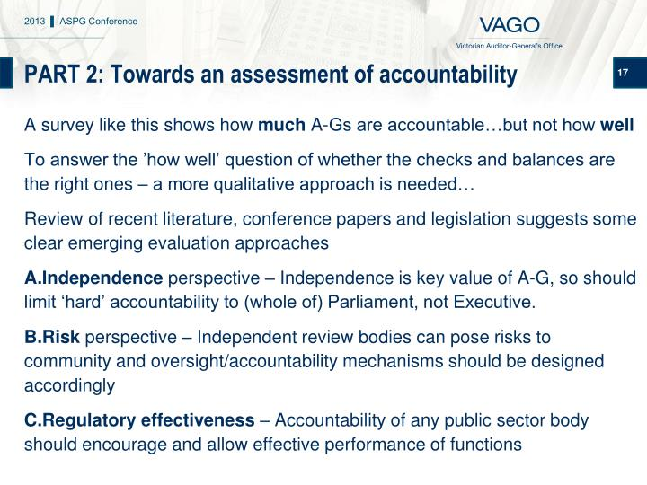 PART 2: Towards an assessment of accountability