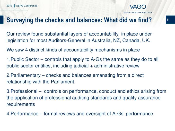 Surveying the checks and balances: What did we find?