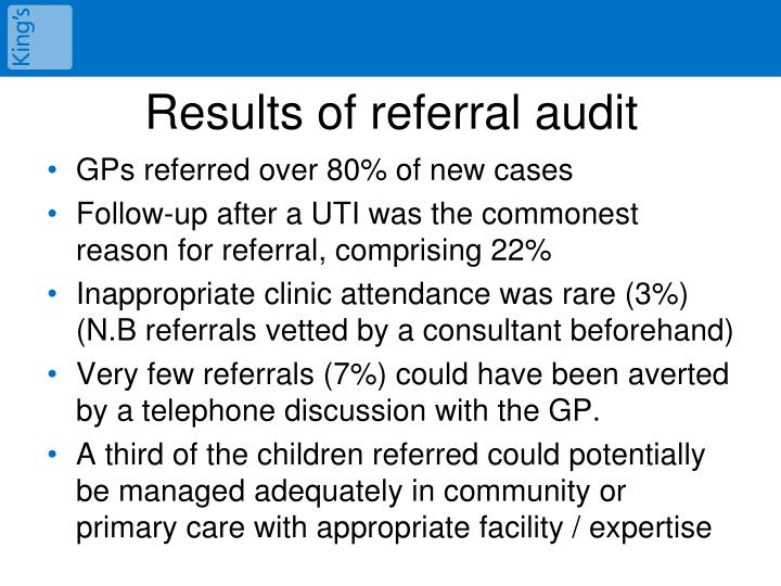 Results of referral audit