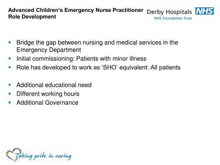Advanced Children's Emergency Nurse Practitioner