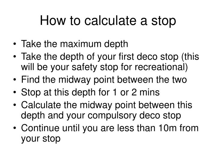 How to calculate a stop