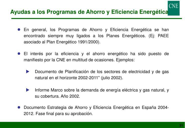 Ayudas a los Programas de Ahorro y Eficiencia Energética