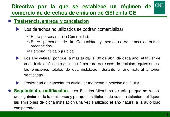 Directiva por la que se establece un régimen de comercio de derechos de emisión de GEI en la CE
