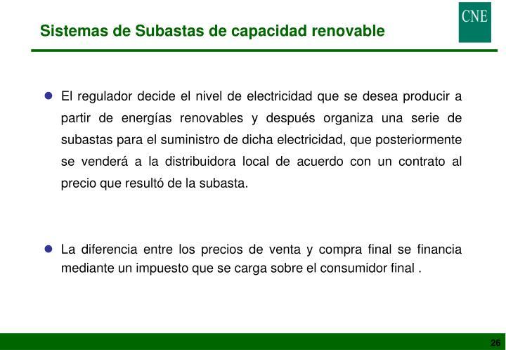Sistemas de Subastas de capacidad renovable