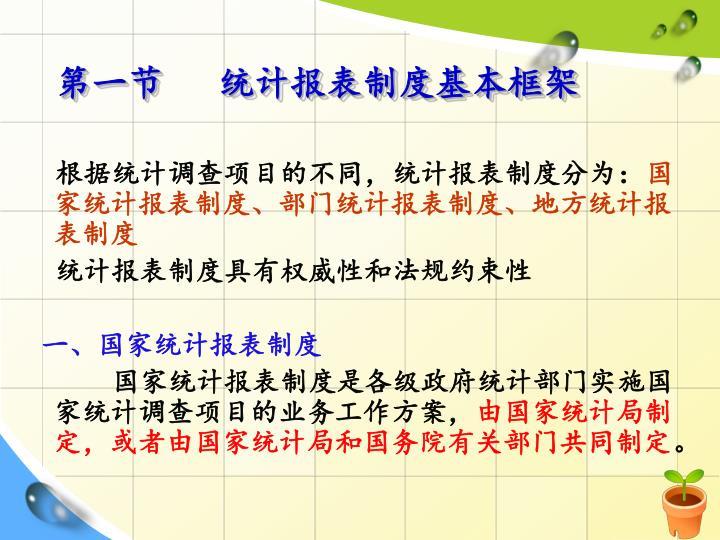 第一节   统计报表制度基本框架
