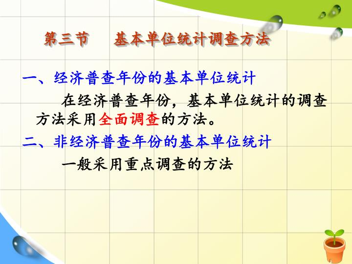第三节   基本单位统计调查方法