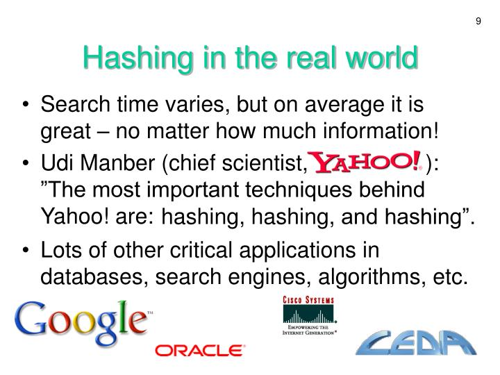 Hashing in the real world