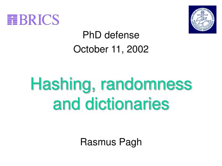 Hashing randomness and dictionaries
