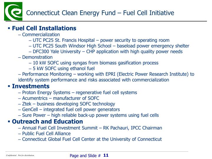 Connecticut Clean Energy Fund – Fuel Cell Initiative