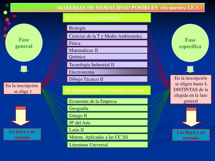 MATERIAS DE MODALIDAD POSIBLES  (en nuestro I.E.S.)