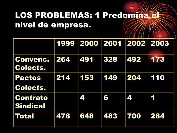 LOS PROBLEMAS: 1 Predomina el nivel de empresa.
