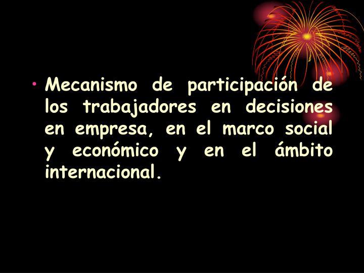 Mecanismo de participación de los trabajadores en decisiones en empresa, en el marco social y económico y en el ámbito internacional.