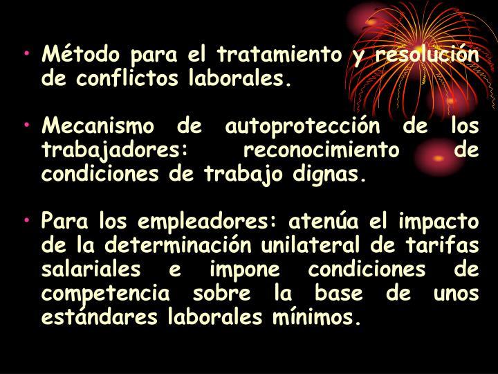 Método para el tratamiento y resolución de conflictos laborales.