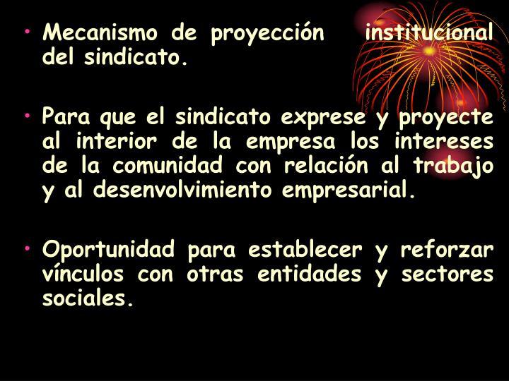 Mecanismo de proyección   institucional del sindicato.
