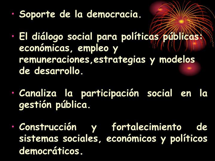 Soporte de la democracia.
