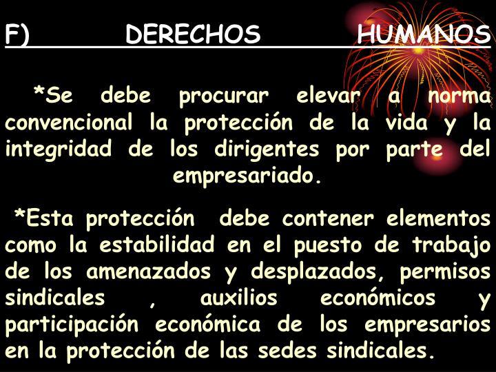 F) DERECHOS HUMANOS