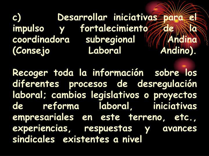 c) Desarrollar iniciativas para el impulso y fortalecimiento de la coordinadora subregional  Andina (Consejo Laboral Andino).