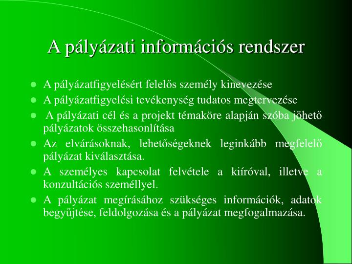 A pályázati információs rendszer