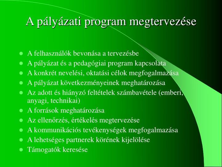 A pályázati program megtervezés