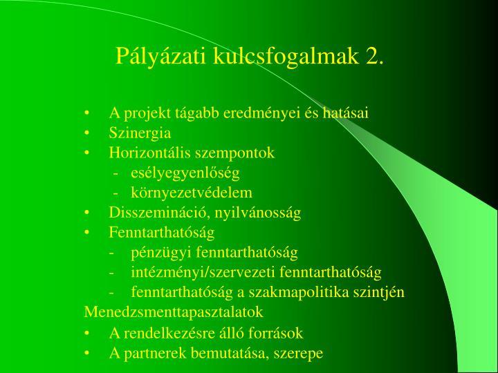 Pályázati kulcsfogalmak 2.