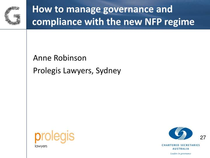 How to manage governance and compliance with the new NFP regime