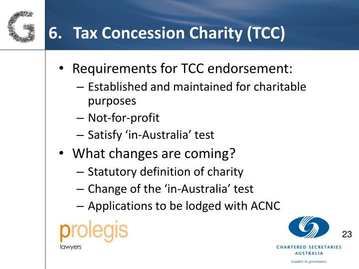 Tax Concession Charity (TCC)