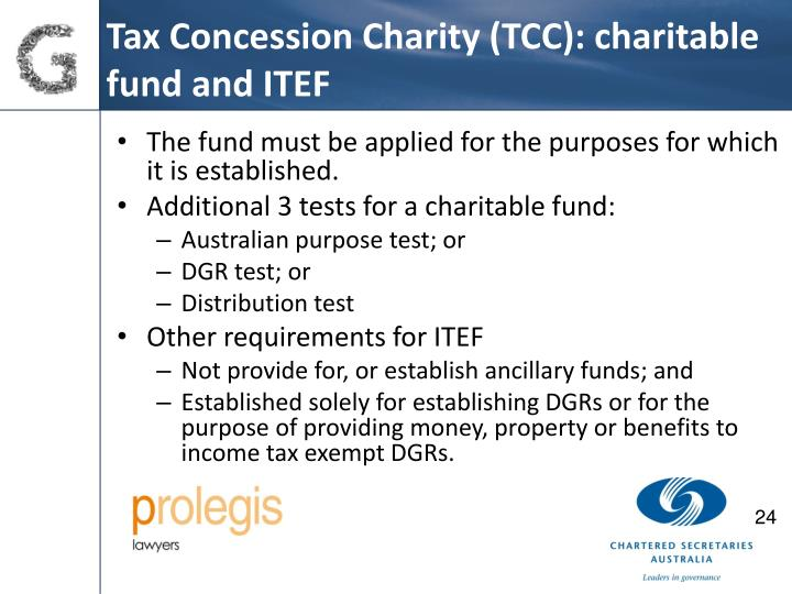 Tax Concession Charity (TCC): charitable fund and ITEF