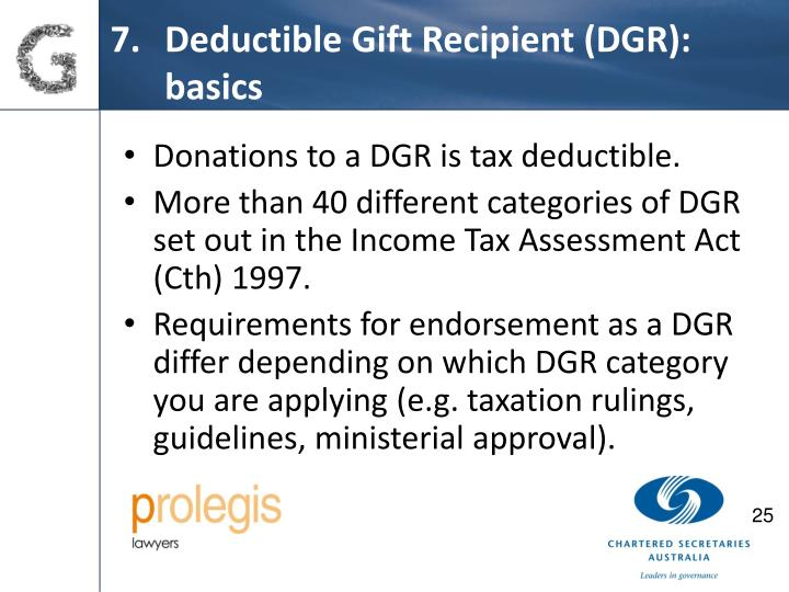 Deductible Gift Recipient (DGR): basics