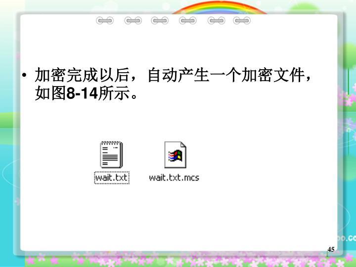 加密完成以后,自动产生一个加密文件,如图