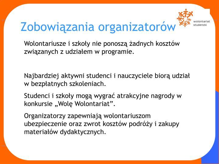Zobowiązania organizatorów