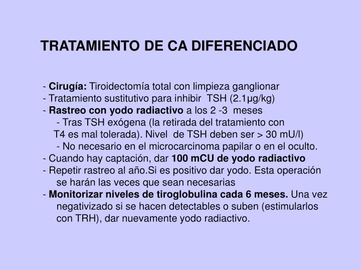 TRATAMIENTO DE CA DIFERENCIADO