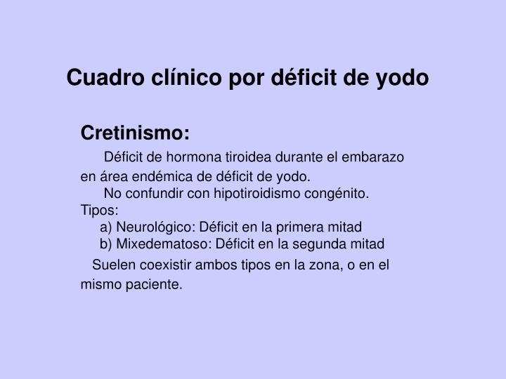 Cuadro clínico por déficit de yodo