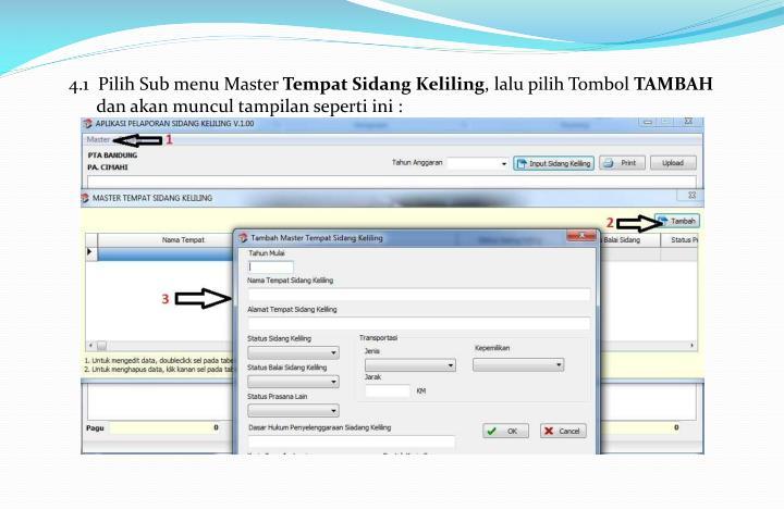 4.1  Pilih Sub menu Master