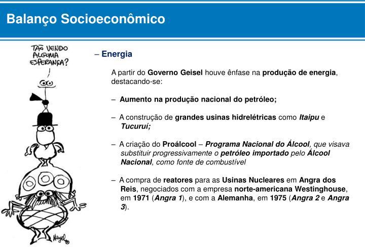 Balanço Socioeconômico