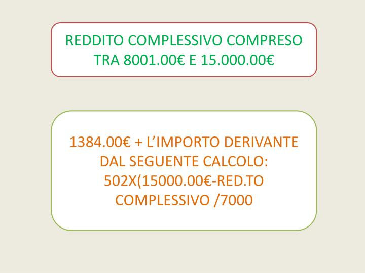 REDDITO COMPLESSIVO COMPRESO TRA 8001.00€ E 15.000.00€