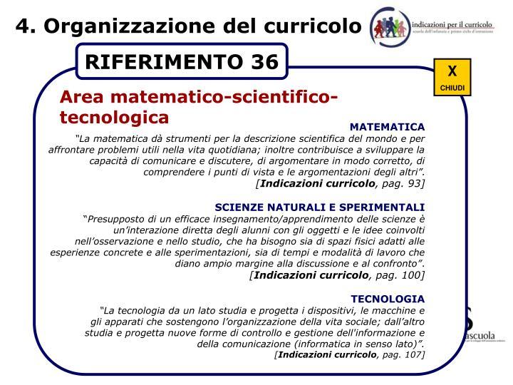 4. Organizzazione del curricolo