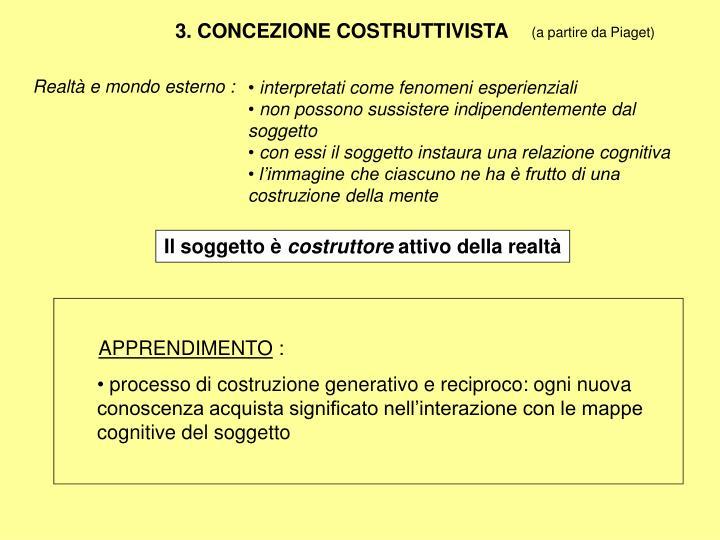 3. CONCEZIONE COSTRUTTIVISTA