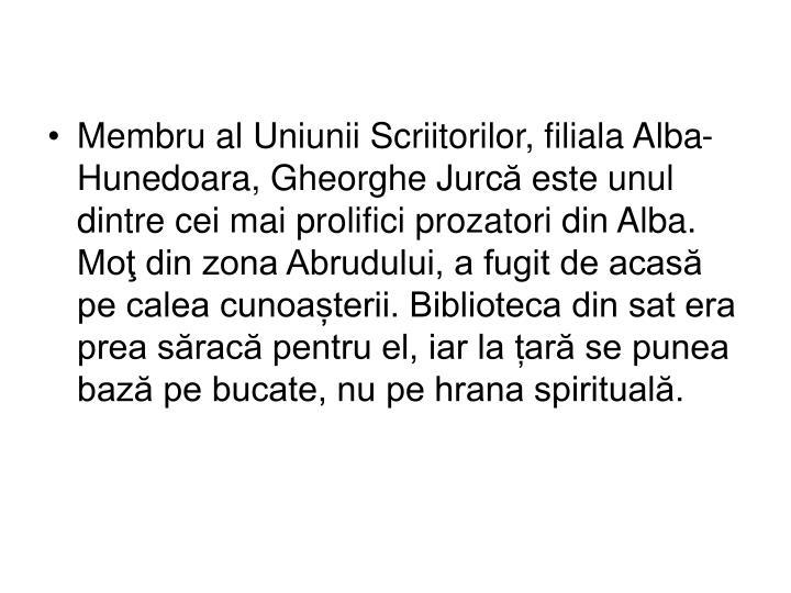 Membru al Uniunii Scriitorilor, filiala Alba-Hunedoara, Gheorghe Jurc