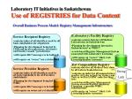 laboratory it initiatives in saskatchewan use of registries for data content