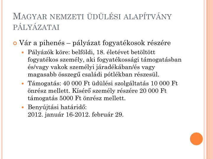 Magyar nemzeti üdülési alapítvány pályázatai